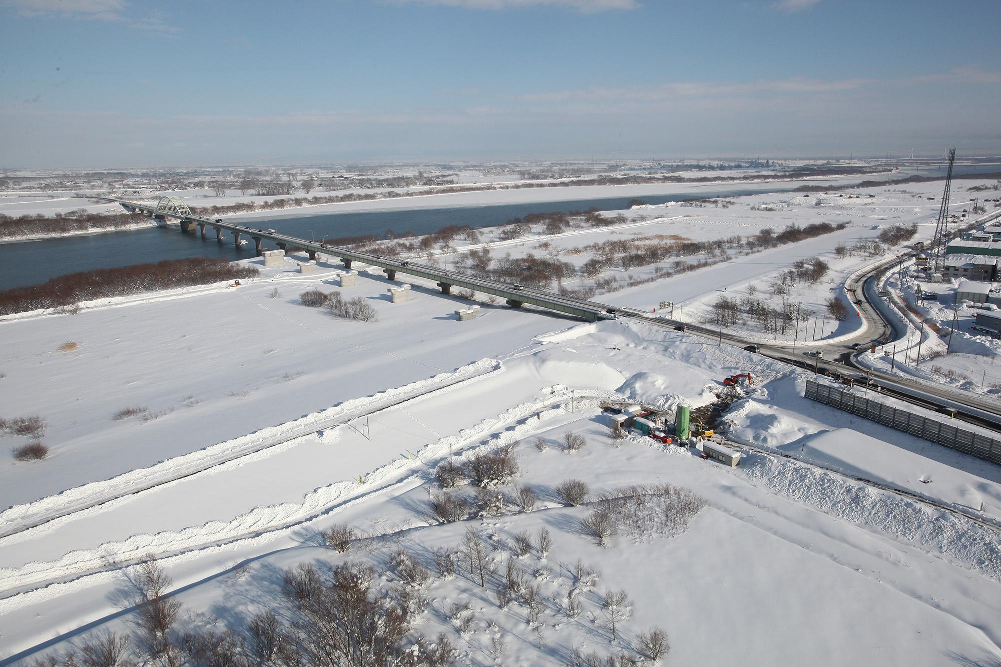 一般国道275号 江別市 新石狩大橋橋脚工事
