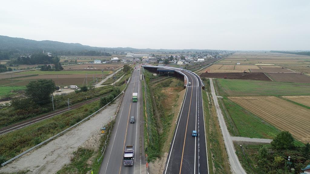一般国道12号線 美唄市 光珠内跨線橋仮道改良工事